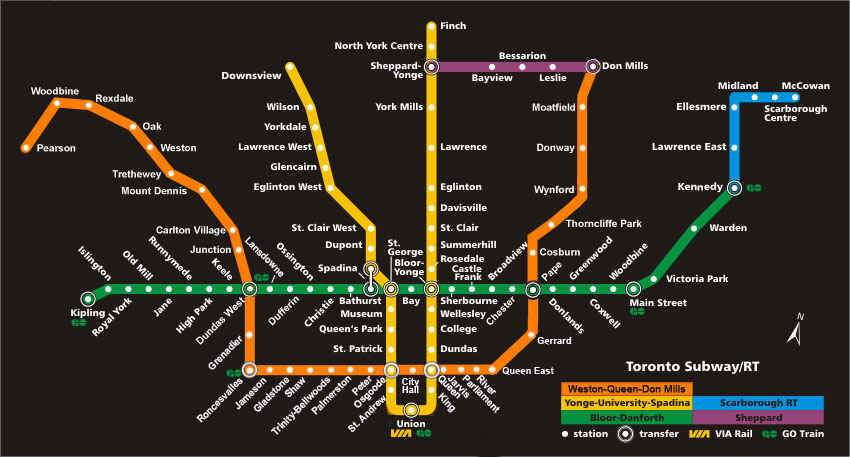 Yonge Subway Line Map